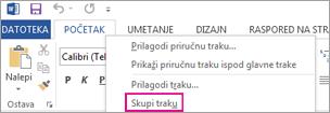"""Komanda """"Skupi traku"""" na traci koja se dobija nakon što kliknite desnim tasterom miša na karticu na traci u programu Word 2013"""