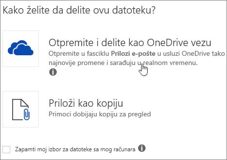 """Snimak ekrana dijaloga """"Prilog"""" koji prikazuje opciju """"Priloži kao OneDrive datoteku""""."""