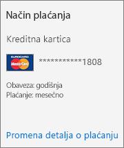 """Odeljak """"Način plaćanja"""" kartice sa pretplatom za pretplatu koja se plaća kreditnom karticom."""