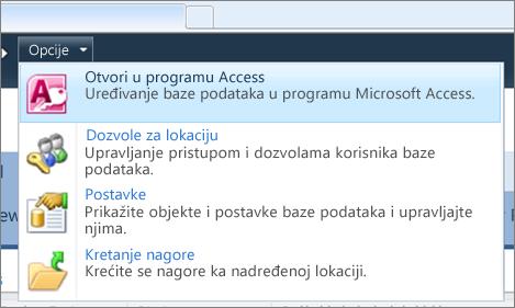 meni Opcije lokacije veb baze podataka u sistemu SharePoint