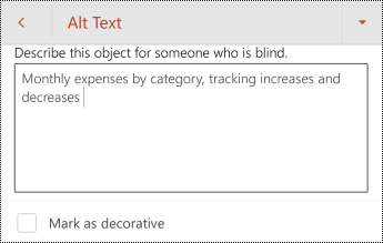Alternativni tekst za tabelu u programu PowerPoint za android.