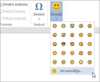 """Kliknite na dugme još Emojis na dugmetu """"Emojis"""" na kartici """"Umetanje"""" da biste odabrali sve dostupne emojis."""