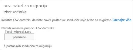 Novi paket za migraciju sa CSV datotekom