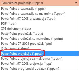 "Lista tipova datoteka u programu PowerPoint uključuje stavku ""PowerPoint projekcija (.ppsx)"""
