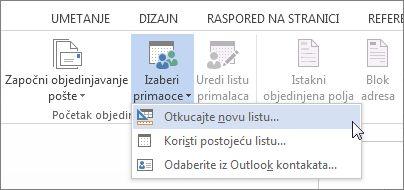 """Komanda """"Otkucajte novu listu"""""""