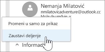 Snimak ekrana izbora dozvole za osobe i zaustavljanja deljenja