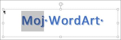 Delimično izabran WordArt tekst