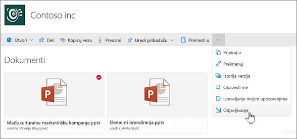 Izaberite datoteku i kliknite na tri tačke na gornjoj traci izaberite stavku odjavljivanje