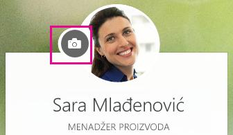 Kliknite na ikonu foto-aparata da biste promenili fotografiju
