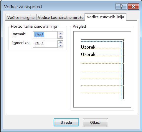 """Dijalog """"Vođice rasporeda"""" s prikazanom karticom """"Vođice osnovnih linija"""" u programu Publisher"""