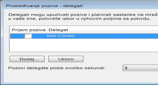 Snimak ekrana dodavanja delegata u programu Lync