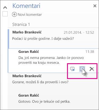 Slika komande za označavanje komentara kao završenih. Kliknite na komentar da biste prikazali komandu.