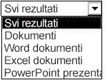 Izbori rezultata koji obuhvataju sve rezultate, dokumente, Word dokumente, Excel dokumente i PowerPoint prezentacije