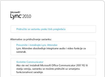 Slika prozora pregledača za Lync