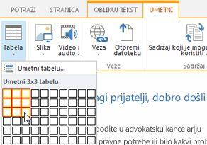 Umetanje tabele na SharePoint Online javnu veb lokaciju