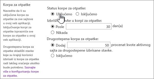 Korpa za otpatke odeljka postavke stranice Opšte postavke web aplikacije