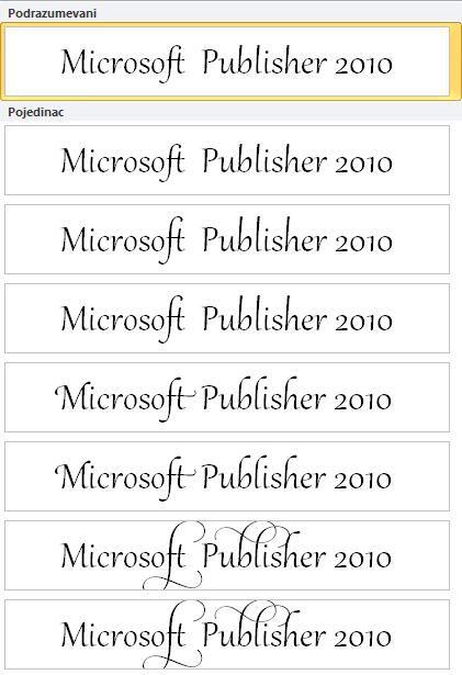 Skup stilova za naprednu tipografiju u OpenType fontovima u programu Publisher 2010