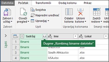 Klik na dugme Kombinovanje binarne datoteke iz upita sadržaja kolone ili iz oblasti kombinovanja u Power Query traku