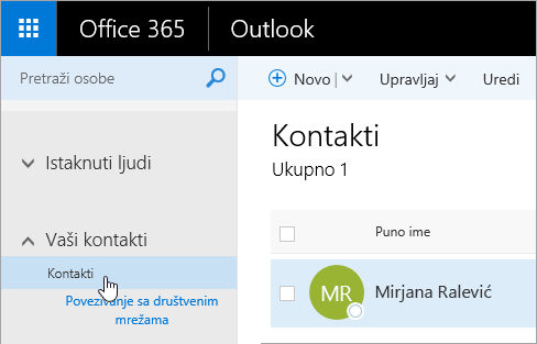 """Snimak ekrana kursora postavljenog iznad dugmeta """"Kontakti"""" na stranici """"Osobe""""."""