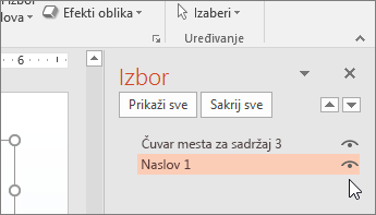 """Snimak ekrana okna """"Izbor"""" koji prikazuje ikonu oka pored čuvara mesta """"Naslov"""""""