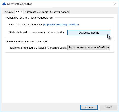 Prozor sa veb postavkama u usluzi OneDrive