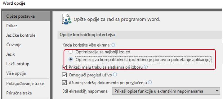 Optimizovanje za opciju kompatibilnosti