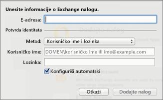 Unesite informacije o Exchange nalogu