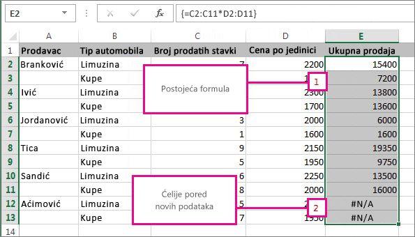 Proširivanje formule niza