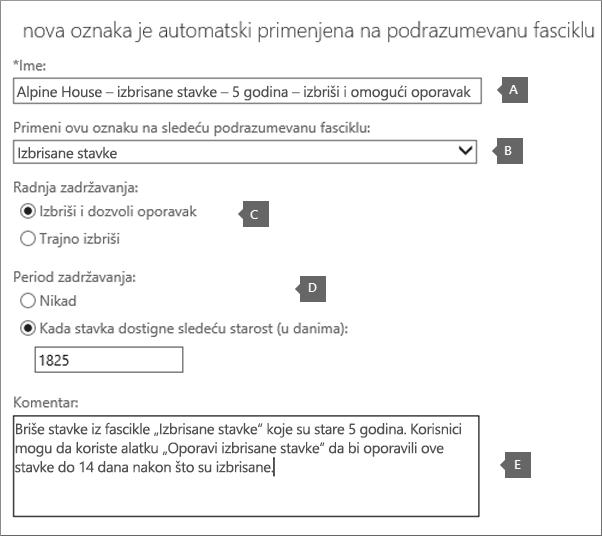 "Postavke za kreiranje nove oznake smernice za zadržavanje za fasciklu ""Izbrisane stavke"""