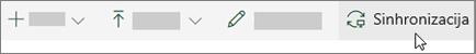 Traka sa alatkama SharePoint online sa izabranom opcijom sinhronizovanje