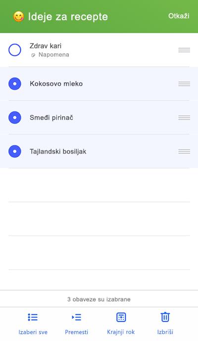 Snimak ekrana koji prikazuje premeštanje na meni na iOS
