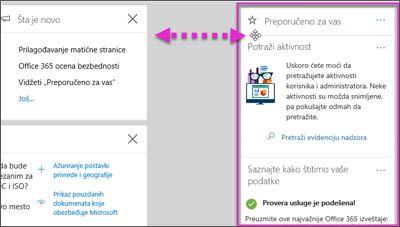 Radnja koja prikazuje vidžet u bezbednost i usaglašenost centar za premeštanje nalevo putem Cusomize opciju na matičnoj stranici