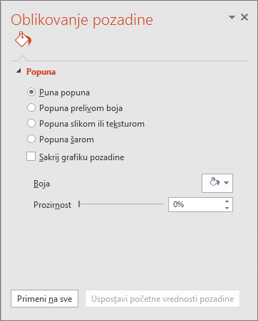 "Okno ""oblikovanje pozadine"" u programu PowerPoint"