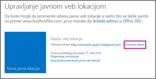 """Stranica """"Upravljanje javnom veb lokacijom"""" koja prikazuje lokaciju """"Promeni adresu""""."""