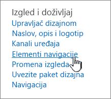 Elementi navigacije u meniju postavke sajta