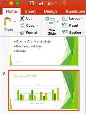Prikazuje slajd izabran u oknu sa sličicama u programu PowerPoint 2016 za Mac