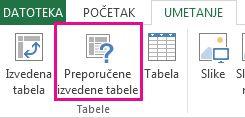 """Dugme """"Preporučene izvedene tabele"""" na kartici """"Umetanje"""" u programu Excel"""