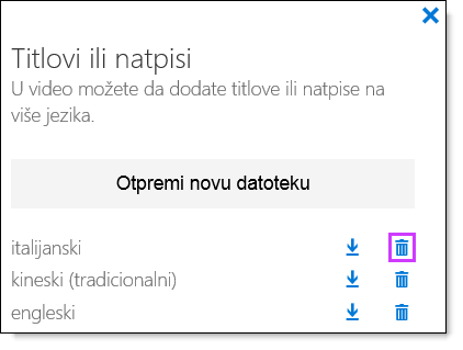 Office 365 video DELETE titlovi