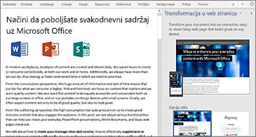 """Dokument sa leve strane i okno """"Transformacija u veb stranicu"""" sa desne"""