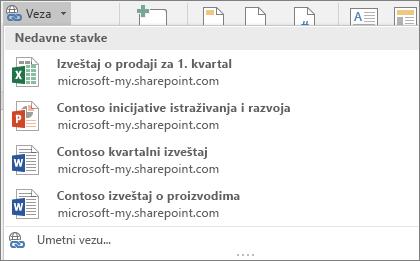 Veza galerija omogućava da odaberete iz nedavne Office datoteke kojima ste radili da biste umetnuli vezu u trenutnom dokumentu.