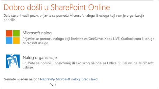 Snimak koji prikazuje na SharePoint Online ekran za prijavljivanje u, sa vezom za kreiranje Microsoft naloga potvrđen.