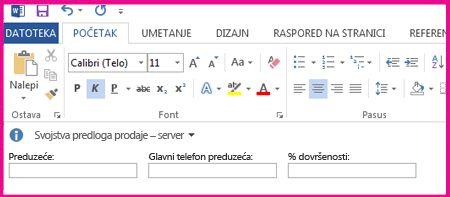 Okno za informacije o dokumentu prikazuje okvire za tekst u obrascu kako bi se mogli prikupiti metapodaci od korisnika.