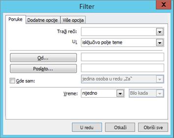 """Odaberite stavku """"Filter"""" ako želite da uvezete samo određene e-poruke."""