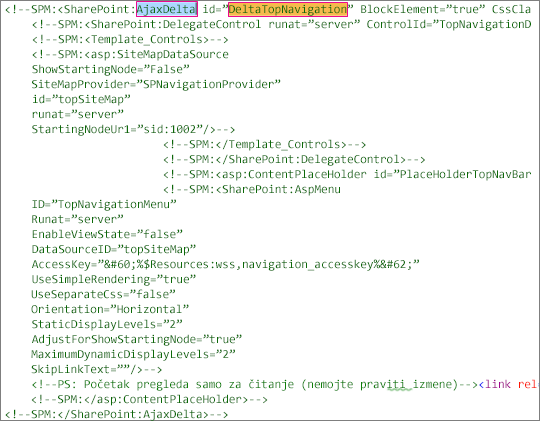 Snimak ekrana DeltaTopNavigation kôd da biste izbrisali