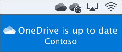 """Snimak ekrana usluge OneDrive na traci sa menijima na Mac računaru nakon završetka rada čarobnjaka """"Dobro došli u OneDrive"""""""