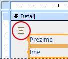 Birač rasporeda u obrascu u prikazu dizajna