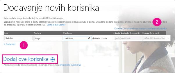 Dodavanje korisnika u Office 365 zakupac