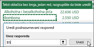 """Uvoz postojećih postavki izvedene tabele izborom bilo koje izvedene tabele i klikom na dugme """"Uvezi"""""""
