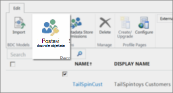 """Snimak ekrana centra za administraciju sistema SharePoint Online u okviru usluga BCS. Prikazuje dugme """"Postavljanje dozvola za objekte"""" na traci."""