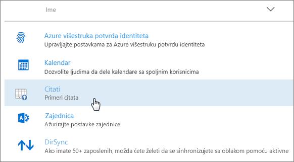 Programski dodatak primenjen u Office 365 centru administracije